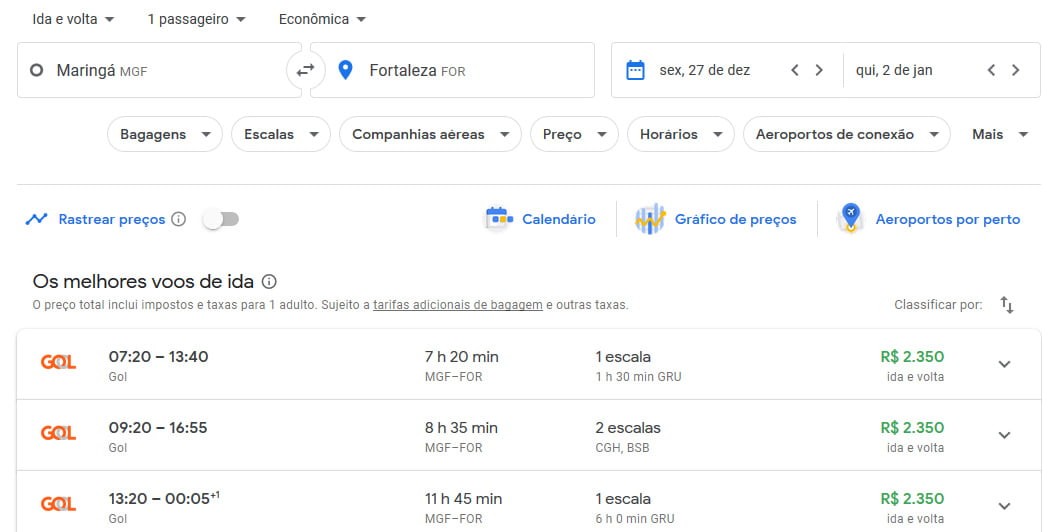 voos google flights reveillon 2020 no nordeste