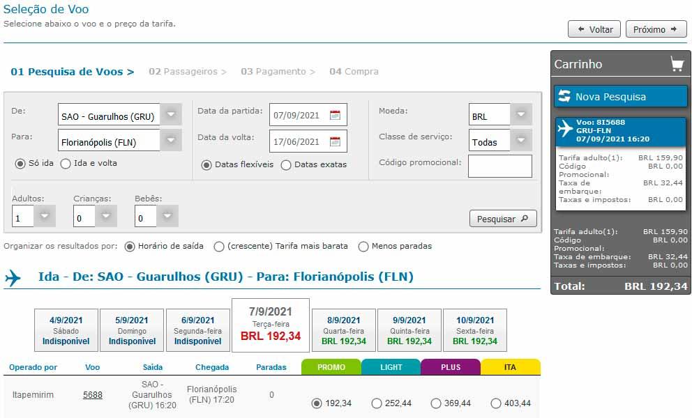 Resultado pesquisas voos Itapemirim linhas aéreas.
